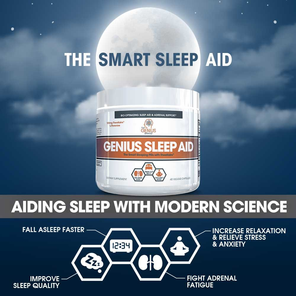 GENIUS SLEEP AID – Smart Sleeping Pills & Adrenal Fatigue Supplement, Natural Stress, Anxiety & Insomnia Relief - Relaxation Enhancer and Mood Support w/Inositol, L-Theanine & Glycine – 40 capsules by The Genius Brand (Image #4)