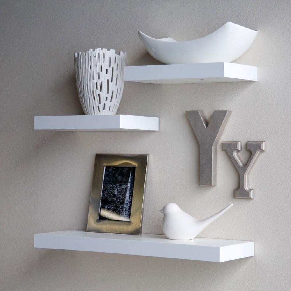 White Floating Shelf Set of 3, Home Decoration Shelf,Storage Shelves Display Racks Home Decor Wall shelve for Living Room, Office, Bedroom, Bathroom, Kitchen