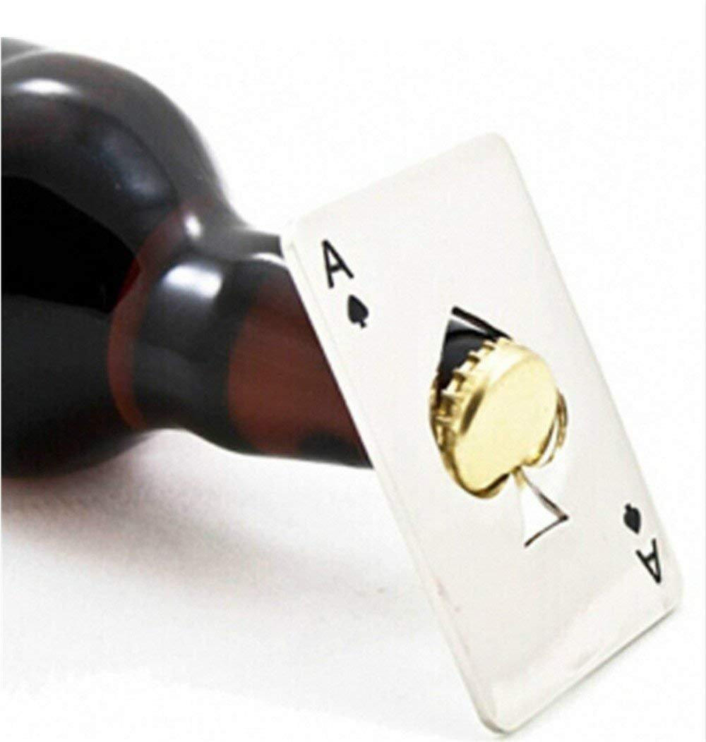 Xuniu Apribottiglie Carta da Gioco Ace Beer Soda Bottle cap Opener Regalo da Uomo Picche Poker Bar Tool 8.2x5.3cm 3.23x2.09
