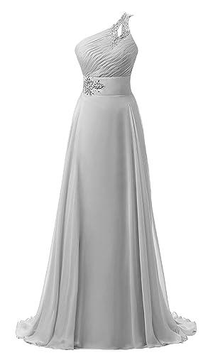Vantexi Women's Chiffon One-shoulder Formal Prom Bridesmaid Dress