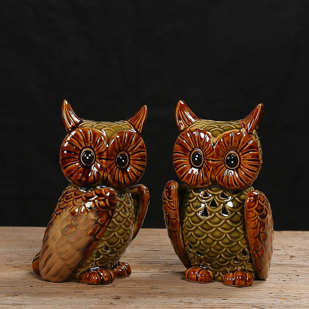 Owl Sleeve Group JIAHUADE Ceramic Crafts Kiln Glaze Creative Home Decoration Owl Aromatherapy Furnace Set,Owl Sleeve Group