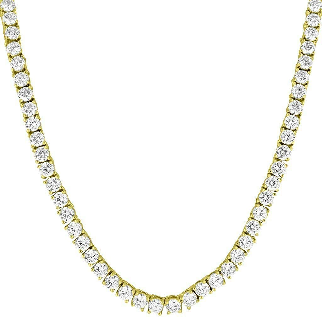Solitaire Link Necklace 14k Gold Finish Lab Diamonds 22 Inch 4mm Chain