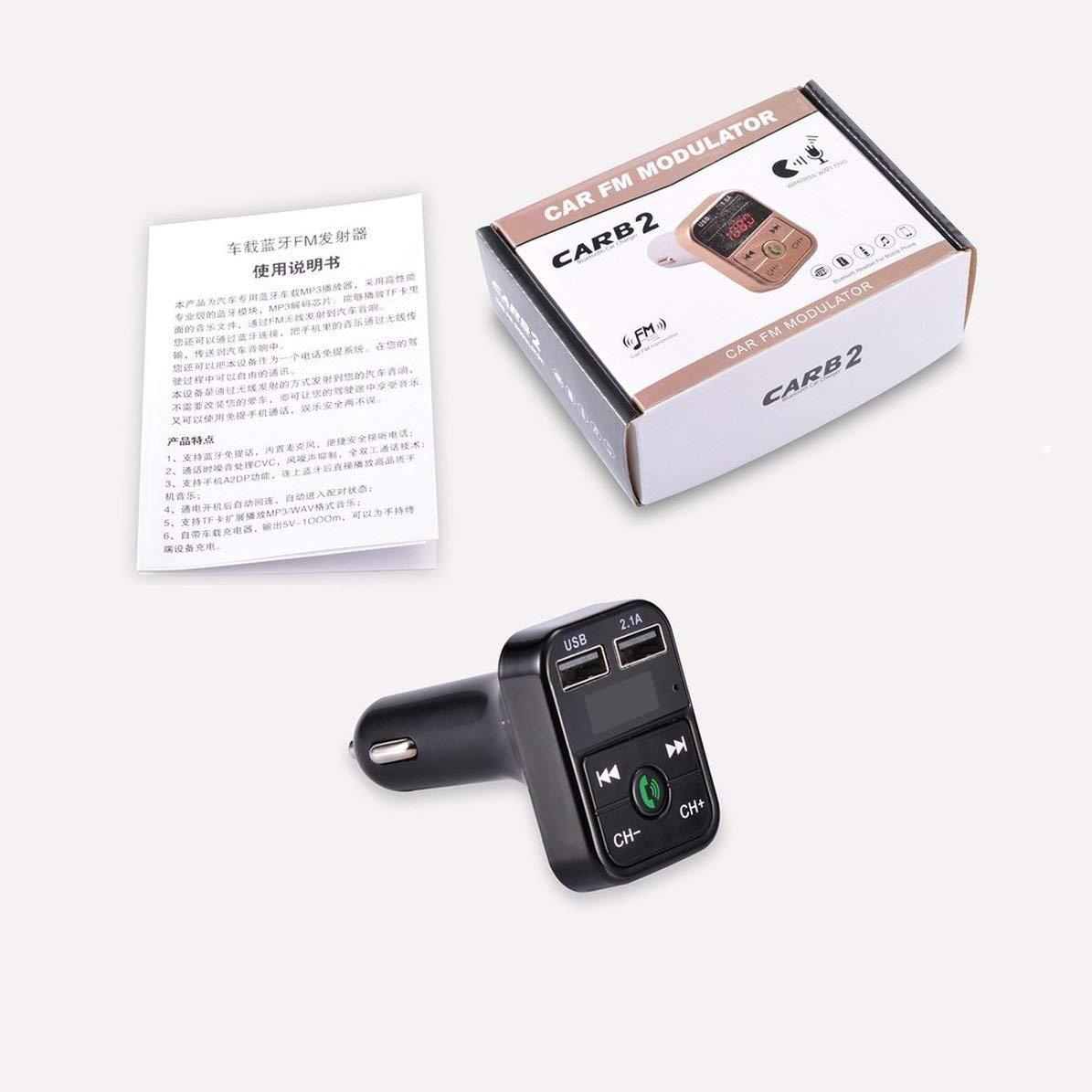 Corneliaa-ES Kit de Coche USB Transmisor FM Adaptador de Radio inal/ámbrico Cargador Reproductor de MP3