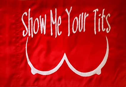 Show Me Your Tits Red with White Replacement Safety Flag for ATV UTV RZR  Recumbent Trike Bicycle