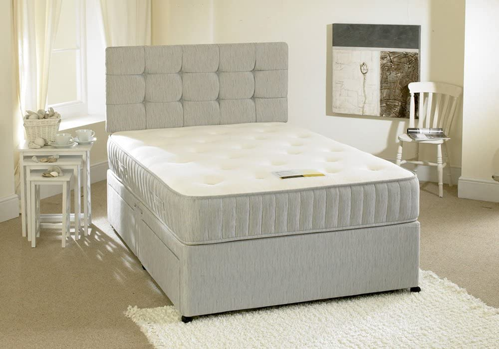 Happy Beds Contour Divan Bed Set With Spring Memory Foam Mattress 2 Drawers One Per Side Headboard 4' Small Double 120 x 190 cm
