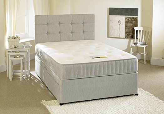 happy beds contour divan bed set with spring memory foam mattress 2 drawers one per side