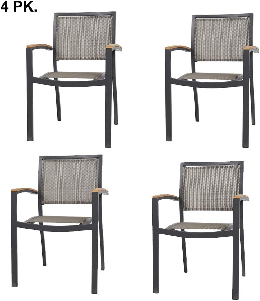 Set of 4 Stacking Metal Patio Dining Kitchen Chair – Heavy Duty Frame and Comfortable Mesh Seat Metal Armchair for Commercial Restaurant Use