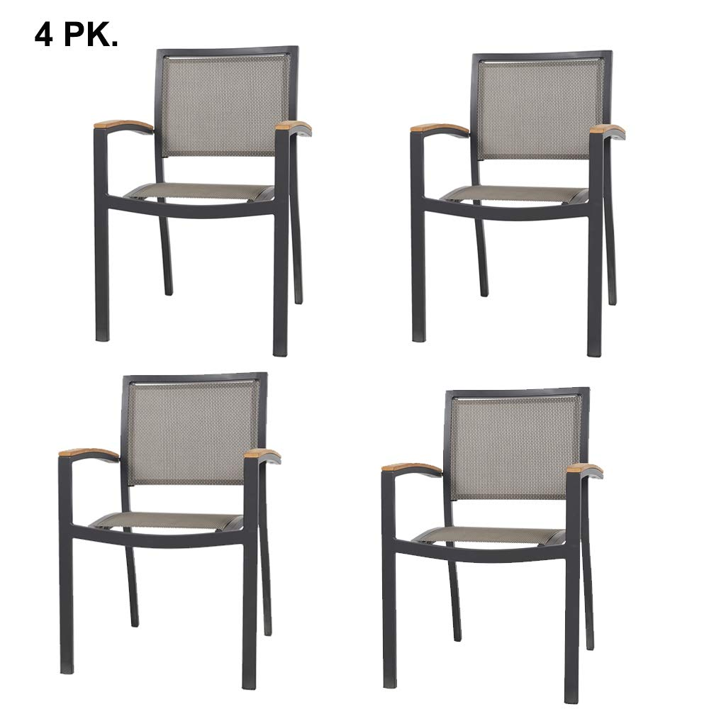 Set of 4 Stacking Metal Patio Dining Kitchen Chair - Heavy Duty Frame and Comfortable Mesh Seat Metal Armchair for Commercial Restaurant Use