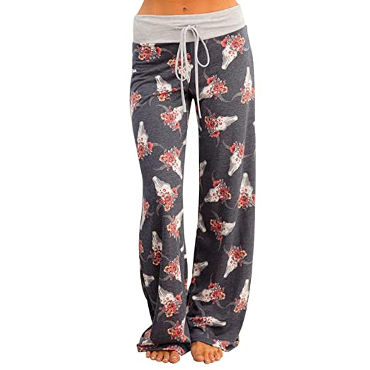157ae63ce0 Shybuy Women s Floral Print Casual Loose Baggy High Waist Tie Long Pants  Maxi PJ Pant Trouser