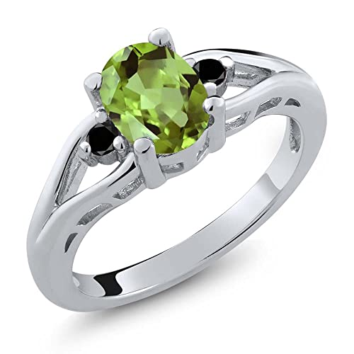 Gem Stone King 1.21 Ct Oval Green Peridot Black Diamond 925 Sterling Silver 3 Stone Ring Available 5,6,7,8,9