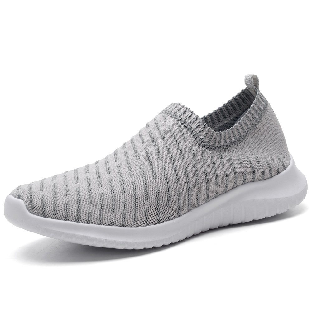 KONHILL Men's Casual Walking Shoes - Knit Breathable Tennis Athletic Running Sneakers Shoes B079QKRS37 7.5 D(M) US|2108 L.gray