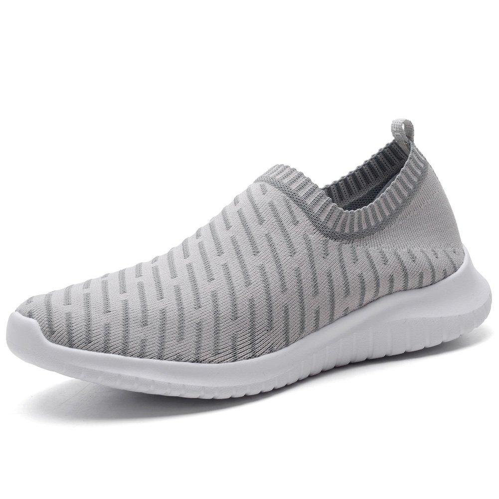 TIOSEBON Men's Casual Walking Shoes Flyknit Running Slip-on Sneakers 9.5 US=EU 43 Gray
