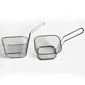 Kefaith Mini cestas de freidora cuadradas de la cesta de las patatas fritas del acero inoxidable