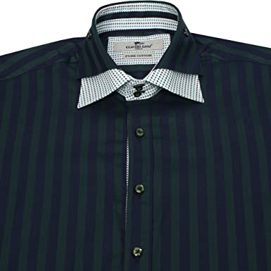 729892f18140b Claudio Lugli CP5770 Mens Double Collar Striped Shirt in Green L Chest 42in  Collar 16.5in Green  Claudio Lugli  Amazon.co.uk  Clothing