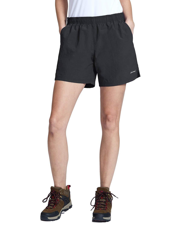 BALEAF Women's Hiking Shorts Quick Dry Lightweight Zipper Pockets Black Size XL by BALEAF