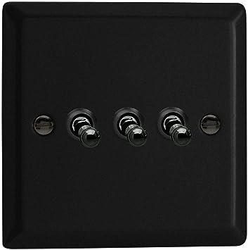 Varilight Urban Matt Black 3 Gang 2 Way 10 Amp Toggle Switch Amazon Co Uk Diy Tools