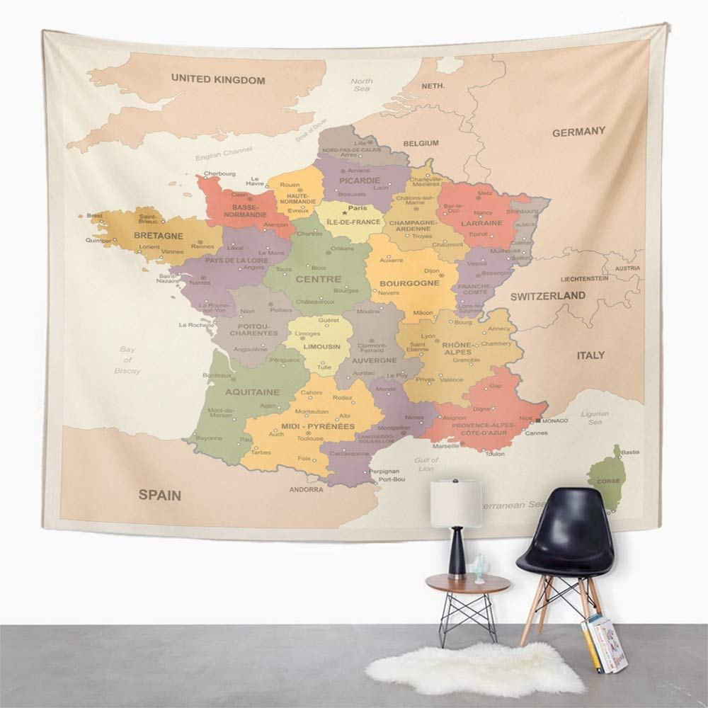 Amazon Com Emvency Tapestry Wall Hanging Blue Alsace France Map