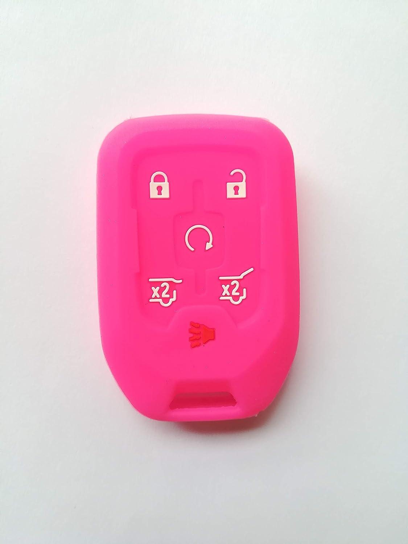 Hot Pink Fob Remote Key Case Cover Jacket Holder Keyless Fit for 2015-2019 Chevrolet Tahoe Chevrolet Suburban GMC Yukon GMC Yukon XL HYQ1AA 13508278 Gift