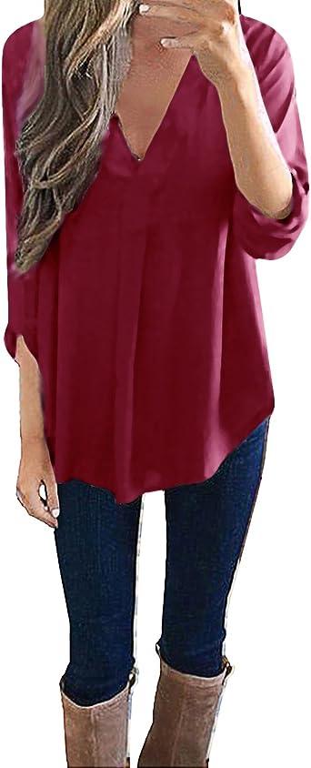 Style Dome Mujer Camiseta Camisa Blusa Mangas Largas Elegante Moda Oficina Casual Suelto con Tops Bolsillo Color Camisa Vino rojo-649686 2XL: Amazon.es: Ropa y accesorios