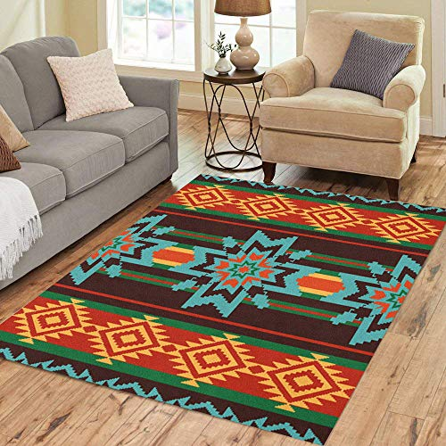 - Semtomn Area Rug 3' X 5' American Abstract Ethnic Pattern Stars Native Border South America Home Decor Collection Floor Rugs Carpet for Living Room Bedroom Dining Room
