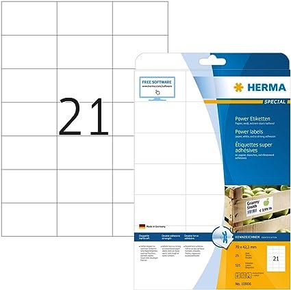 Herma 10906 - Etiquetas adhesivas (525 unidades, 21 en cada hoja ...