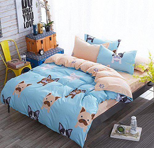LAGHCAT 4 Piece Kids Bedding for Teens Boys Girls Dog Printed Bed sheet set, Twin Size