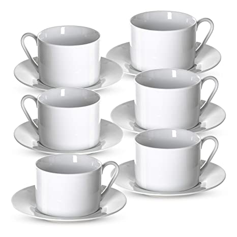 1d1e1e4ed5 Klikel Tea Cups and Saucers Set | 6 Piece White Coffee Mug Set | 6""