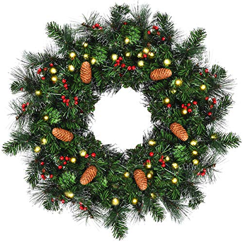 Goplus Pre-Lit Cordless Christmas Wreath, Built-in 6-Hour Timer, with 50 Warm LED Lights/Pine Cones/Berries, Xmas Decor for Indoor and Outdoor