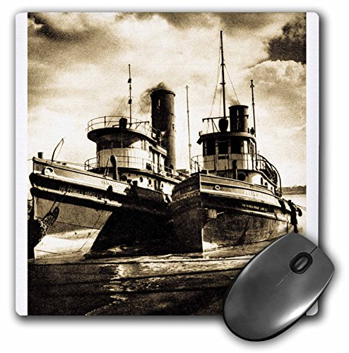 (3dRose Scenes from the Past Antique Images - Twin Tugs Sepia tone - MousePad (mp_6814_1))