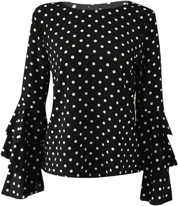 8644b66e5 Summer Women Plus Size Polka Dot Blouses Vintage Blusa Chiffon Blouse Shirt  Office Ruffles Flare Sleeve