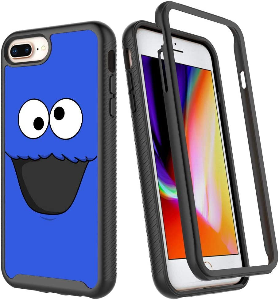 iPhone 6 Plus 6s Plus Case,Blue Cartoon Funny Design iPhone 7 Plus Case Shockproof Rugged Cover Dual Layer Soft TPU + Hard PC Bumper Full-Body Protective Case for iPhone 8 Plus