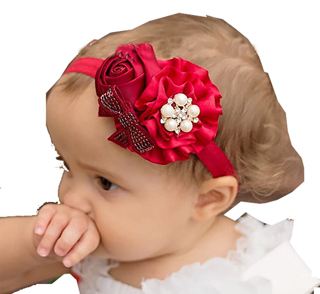 1809dc051da9 Ziory Fabric Chiffon Pearl Rose Flower Elastic Lace Headband for Baby Girls  (Red)  Amazon.in  Jewellery