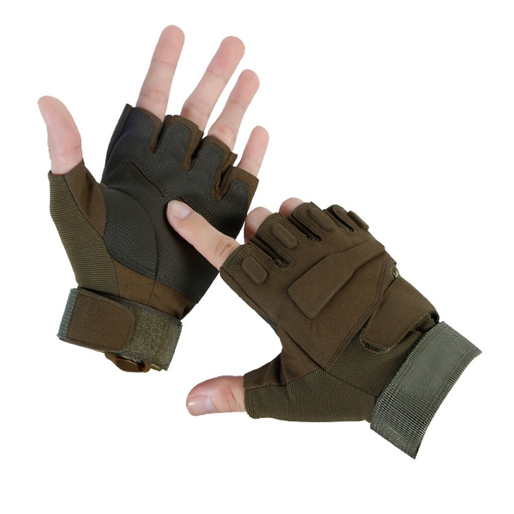 Pothholders mitters Summer Outdoor Bicycle Anti-Skid Men's Combat Semifinger Gloves, Military Green Daily Riders (Size : M)