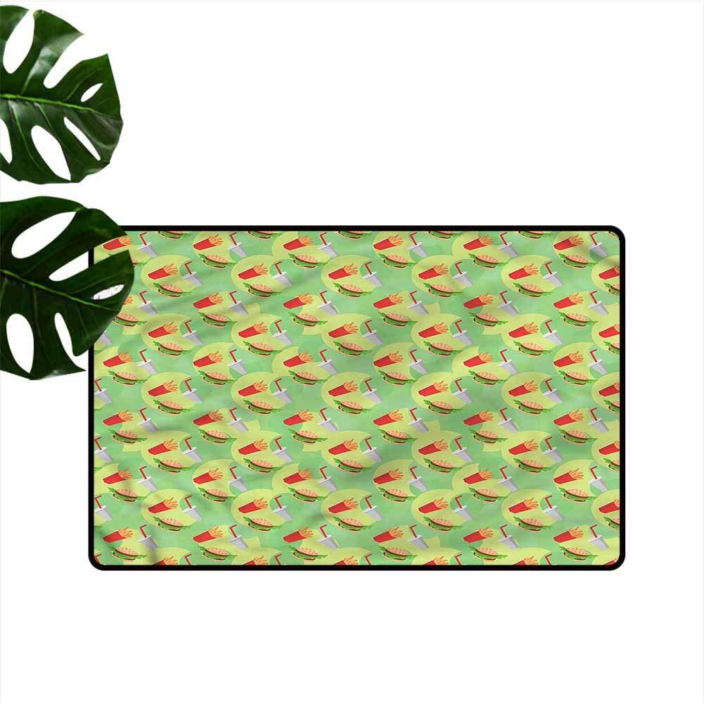 DUCKIL Pet Door mat Food Fast Food Hamburger Beverage with Anti-Slip Support W35 xL47