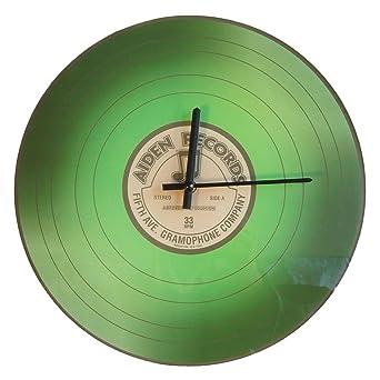 vinilo Reloj de pared Tocadiscos LP de cristal verde Aiden Records ...