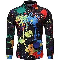 FairOnly Camisa de Manga Larga de Oto?o Camisa Estampada con Salpicaduras de Tinta salpicada de Pintura Camisa de Hombre