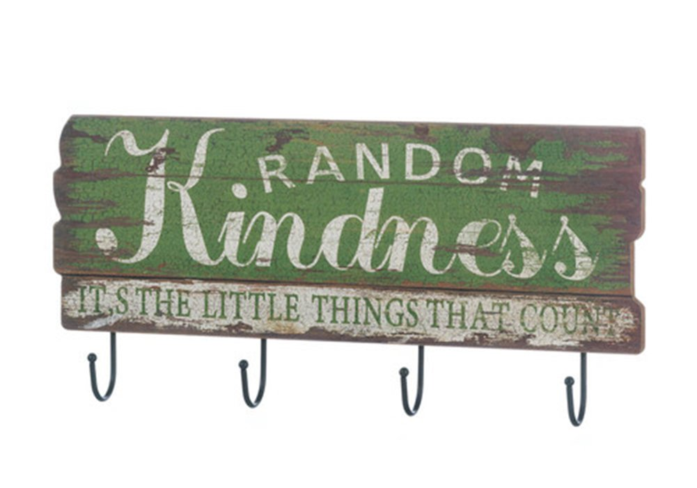 Fennco Styles Random Kindness Rustic Wood Inspirational Wall Hook - Green