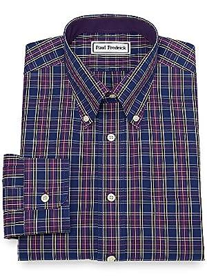 Paul Fredrick Men's Non-Iron Cotton Tartan Dress Shirt