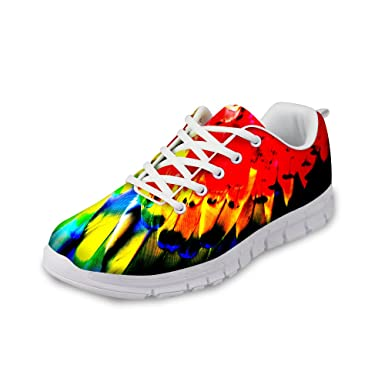 b7e89eed47a9 Amazon.com  Fashion Feather Pattern Nice Sneakers Running Shoes for ...