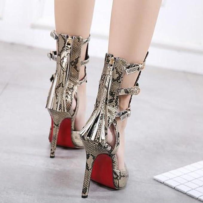 GAOLIXIA Zapatos de tacón Alto para Mujeres Sandalias de Moda en Serpentina  de Verano Zapatos Salvajes Amarillo Rosa Dorado  Amazon.es  Deportes y aire  ... b322105f5d82