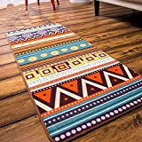 Ethnic Kitchen Rugs Wolala Home Ethnic Style Geometric Printing Washable Non-slip Durable Kitchen Rug Runners (1'6x6'0, Colorful)