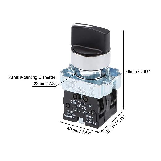 sourcing map Interruptor Selector Giratorio de 2 posiciones 1NC de enclavamiento autoblocante AC 380V 10A: Amazon.es: Industria, empresas y ciencia