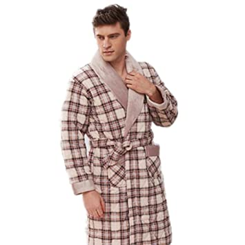 0416b7d5d9 LIUDOU Thick Cotton Nightgown Cotton-Padded Men s Bath Robes Winter Long  Cotton Nightgown Men