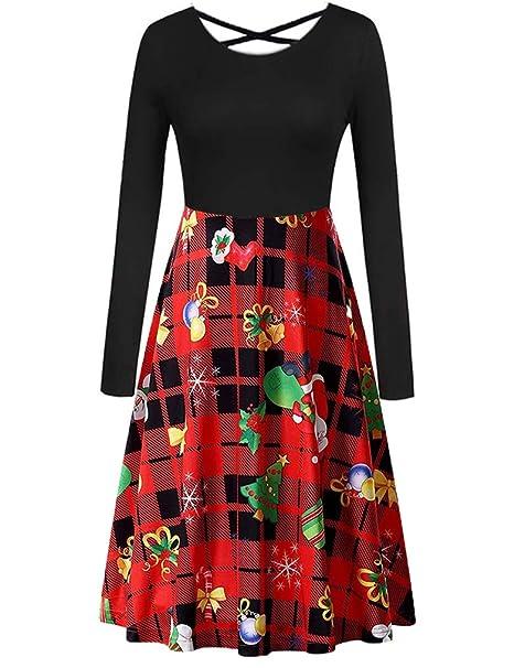 Christmas Dresses Womens.Womens Christmas Dresses Casual Long Sleeve Criss Cross Flared Holiday Dress