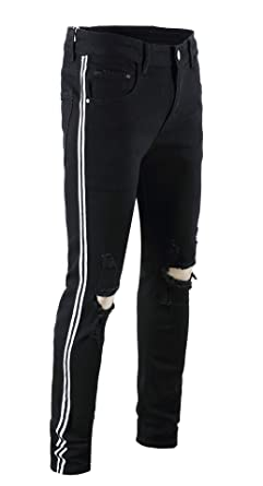 ccd24d33c0f16c FEESON Men's Casual Ripped Jeans Skinny Stretchy Side Color Ribbon Pants  Black White 113