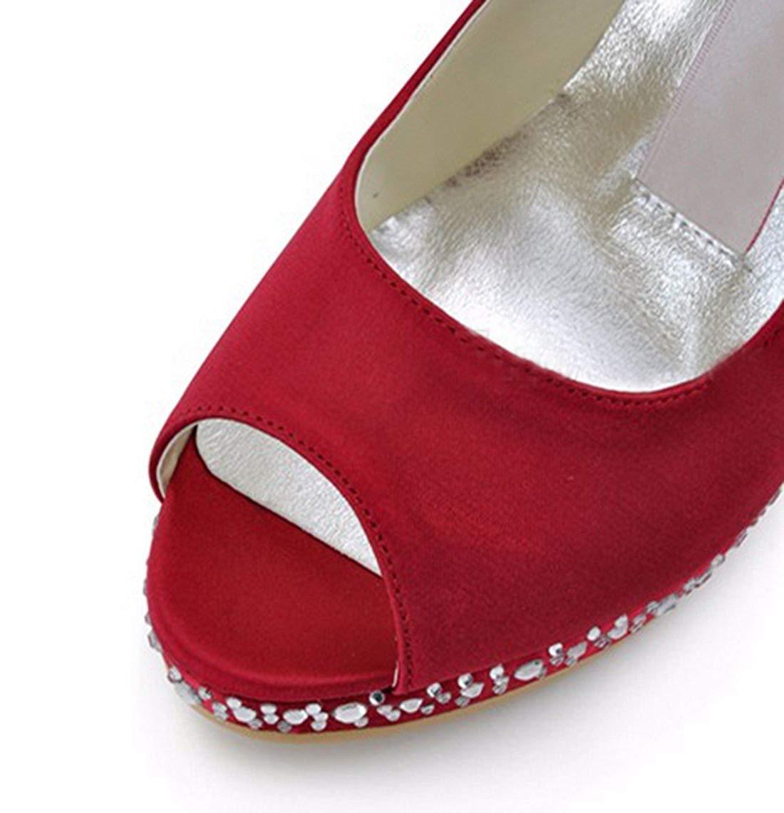 ZHRUI Damen Peep Toe Kristalle Stiletto High Heel Heel Heel rot Satin Braut Hochzeit Sandalen UK 6.5 (Farbe   -, Größe   -) 688897