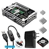 #10: Smraza Case for Raspberry Pi 3 with Fan Cooling and Heatsinks, 5V/2.5A Power Supply, Micro USB with On/Off Switch Case for Pi 3B 2 Model B (Not include Raspberry pi board)