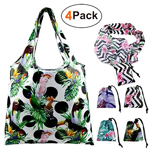 Foldable Reusable Grocery Bags Cute Designs, Folding Shopping Tote Bag Fits in Pocket (4 Pack String (Tote Bag Design)