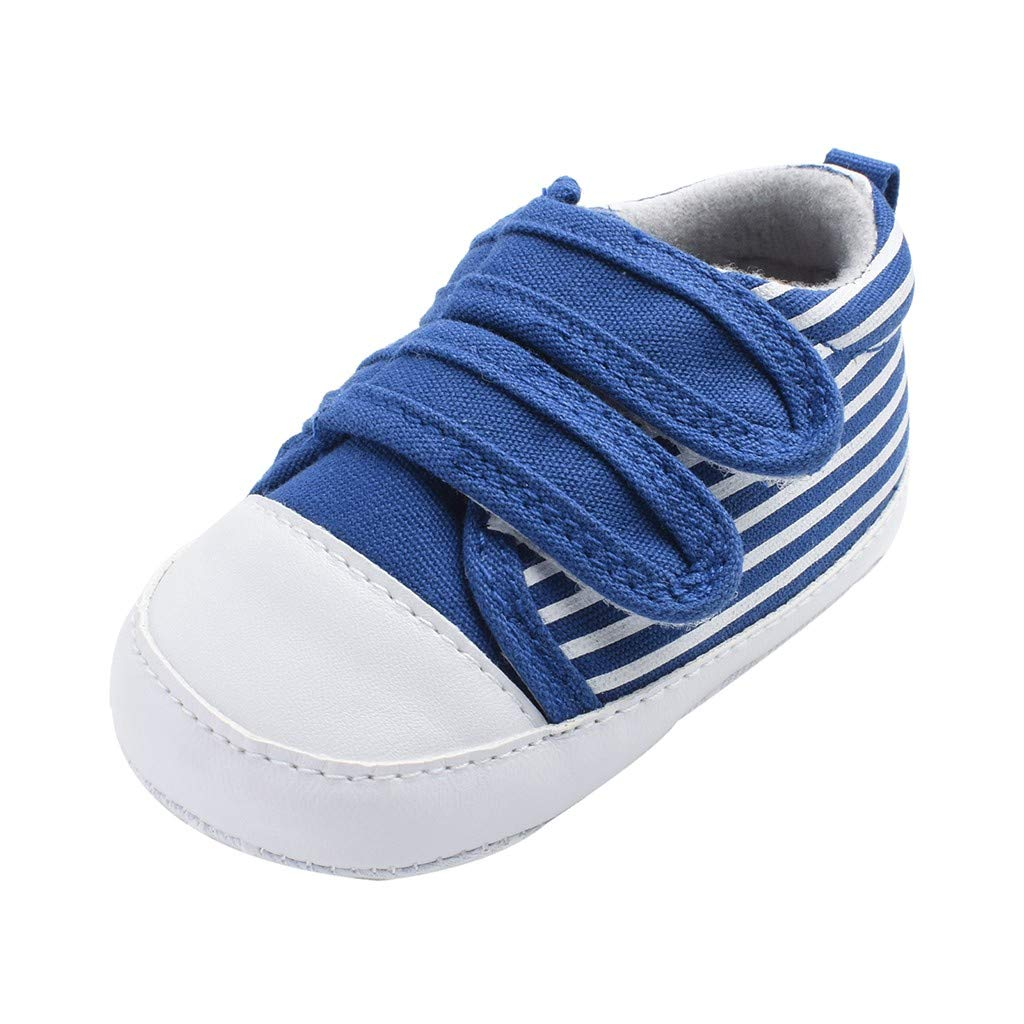 Voberry- Newborn Baby Anti-Slip Soft Sole Shoes Boys Girls Striped First Walkers Shoes