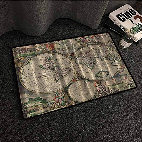 - Old World Map Door mat Customization Globe Antique Ancient Antiqued Look Treasure Map Ocean Continents Journeys Voyager Vintage Country Home Decor W24 xL35 Beige Green Gray Orange